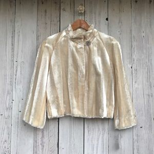 INC Faux Fur Ivory Gold Coat with Crystal Button